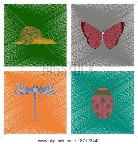 assembly flat shading style illustration of snail butterfly dragonfly ladybug