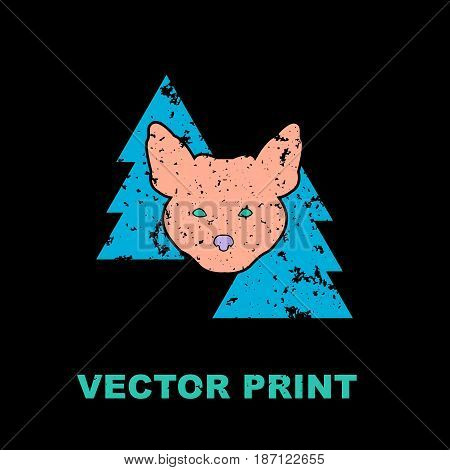 Modern print with the fox in woods. Perfect for a t-shirt print, postcard, poster, label or another apparel design. Unique grungy printable concept. Vector illustration.