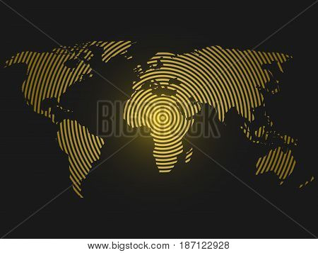 World map of yellow concentric rings on dark grey background. Worldwide communication radio waves concept Modern design vector wallpaper.