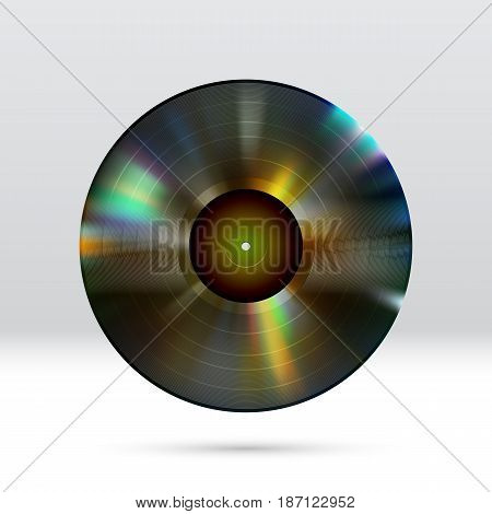 Colorful vinyl disc 12 inch LP record with shiny grooves
