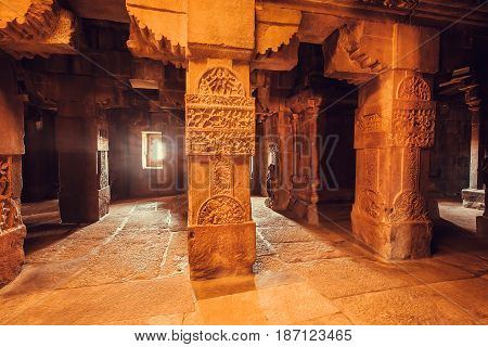 Columns of architecture landmark Hindu temple, India.