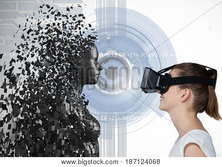 Digital composite of Woman looking at 3d scattered female figure on VR glasses