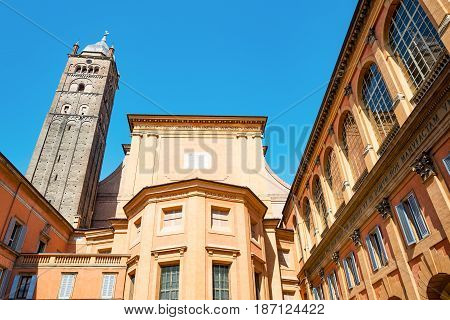 Italy Bologna, upward view of the the St. Peter cathedral apse