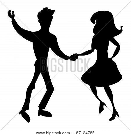 Couple dancing silhouette. Vector illustration. woman and man isolated