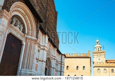 Italy Bologna Maggiore square the St Petronio Basilica facade with the D'Accursio palace in the background