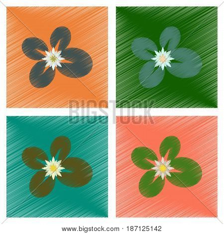 assembly flat shading style illustration of water lily