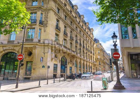 Paris France - May 1 2017: Beautiful architecture on Champs-Élysées Avenue on a bright sky day on May 1 2017 at Paris France.