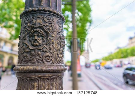 Paris France - May 1 2017: Low relief art Emblazoned on the street light poles at Champs-Élysées avenue on May 1 2017 at Paris France.