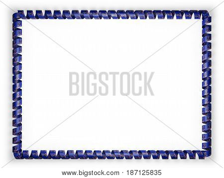 Frame and border of ribbon with the state North Dakota flag USA. 3d illustration
