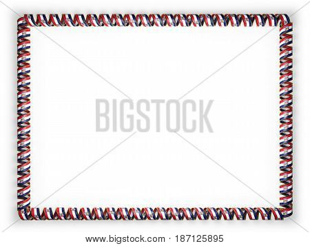 Frame and border of ribbon with the state Missouri flag USA edging from the golden rope. 3d illustration