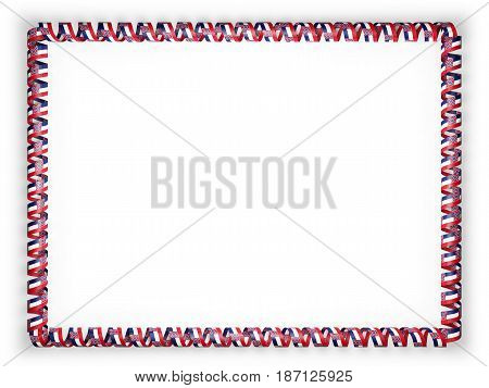 Frame and border of ribbon with the state Mississippi flag USA. 3d illustration