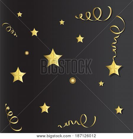 Tinsel and stars set for cards and gift paper. Black and gold