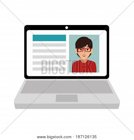 computer laptop with curriculum vector illustration design