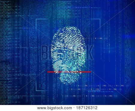 concept of security in the future technology information and Web address environment through fingerprints. Biometric identity control and approval.