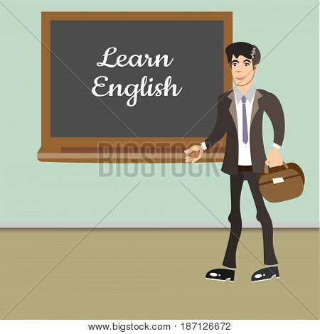 Young teacher by blackboard. Learn english. Vector illustration