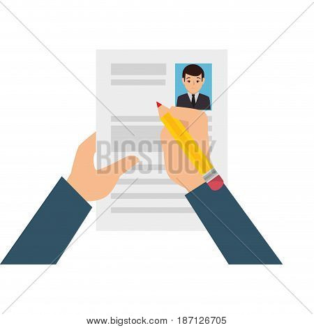hands human with curriculum vitae isolated icon vector illustration design