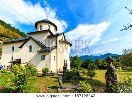 Moraca Monastery, a Serbian Orthodox church in Kolasin, Montenegro. Ancient religious building and graveyard.