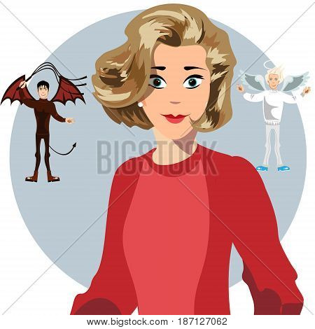 Angel and devil hovering over a thinking woman. Vector illustration
