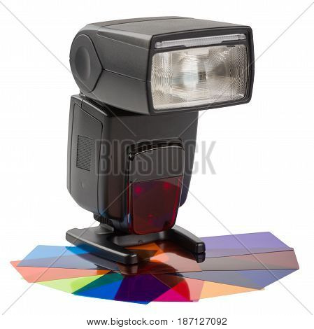 Modern flash with color filters isolated on white