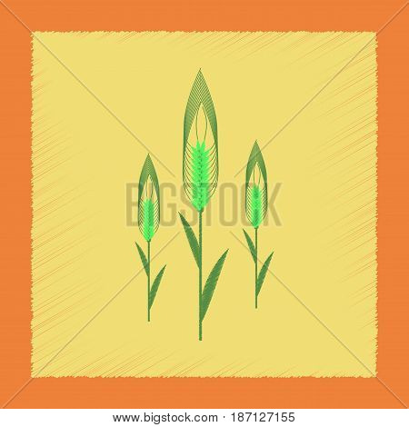 flat shading style illustration of natural triticum