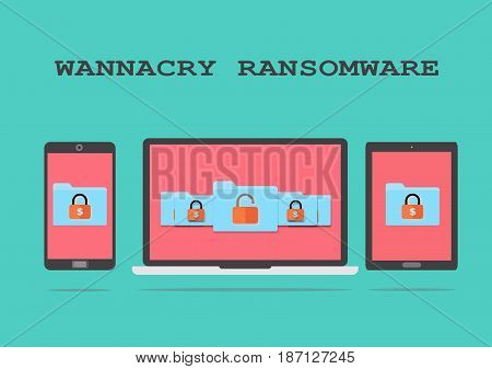 Data locked by hacker in computer and devices. Pay ransom to retrieve the data. Only few files can be retrieved without payment. Cyber attack.