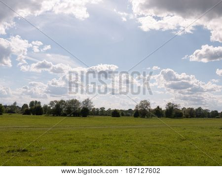 A Walking Path Through An Open Countryside In The Heartland Of Constable Country Essex England In Th