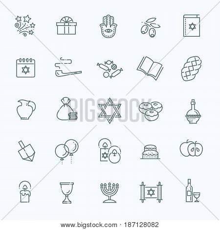 Israel Judaism Icons Collection. Line Happy Hanukkah Icons Set.