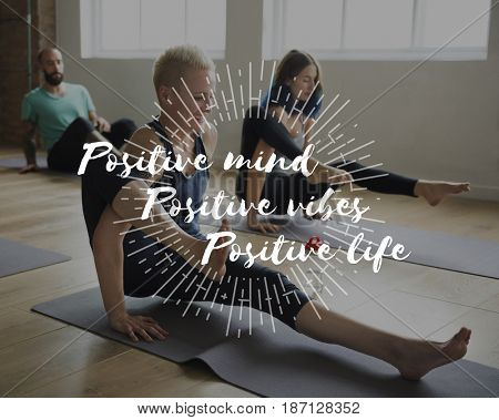 Positive Vibes Life Mind Motivation Word and Yoga Class Background