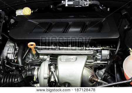 Close up detail of new car engine. Clean new car engine.