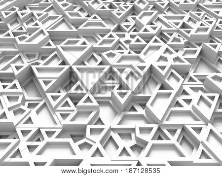 Equilateral Triangles - White Abstract Background With Shadows