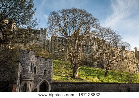 Outside Landscape Of Medieval Windsor Castle
