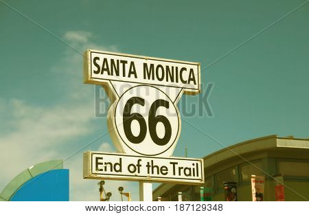 Santa Monica sign - route 66 end of the train