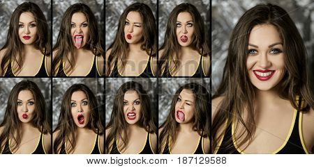 collage of portraits of different  emotions women brunette on a dark background