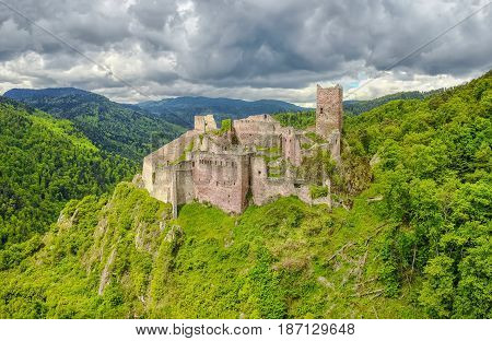 Ruins of Saint-Ulrich Castle located in The Vosges mountains near Ribeauville Alsace France