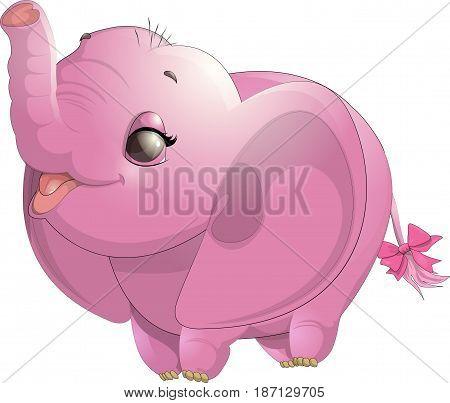 Beautiful cute baby elephant painted on white background