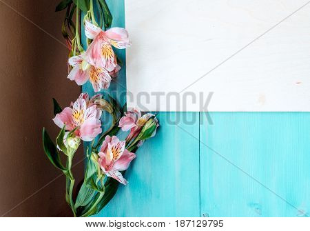 Spring background of bonded wooden boards with a Board of the label layout on a blue wooden background with flowers blackboard