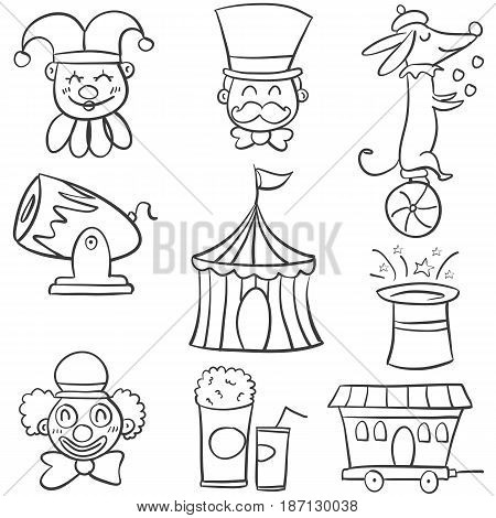Doodle element object circus carnival vector art