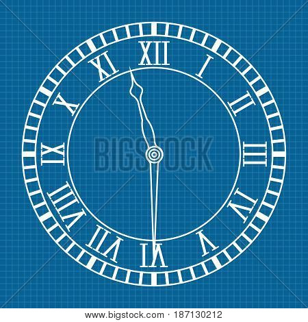 Roman numeral clock. Icon. Blueprint Background. Vector illustration.