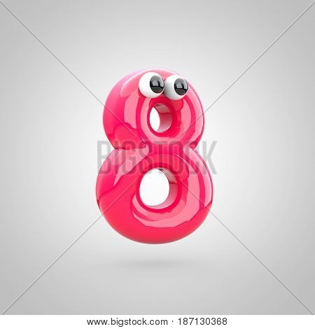 Funny Pink Number 0 With Eyes