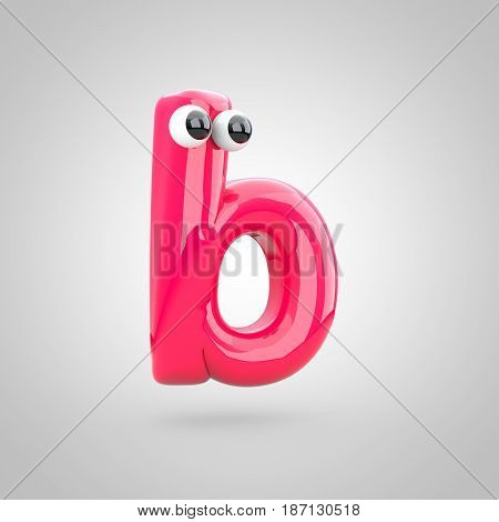 Funny Pink Letter B Lowercase With Eyes