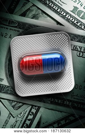 Red and blue pills in a blister on dollar bill background. 3d rendering