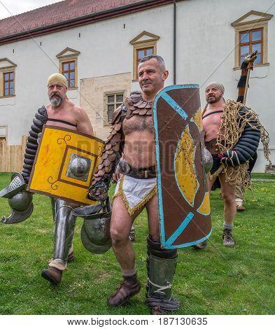 ALBA IULIA ROMANIA - APRIL 29 2017: Roman gladiators in battle costume present at APULUM ROMAN FESTIVAL organized by the City Hall.