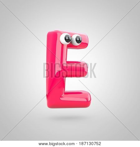Funny Pink Letter E Uppercase With Eyes
