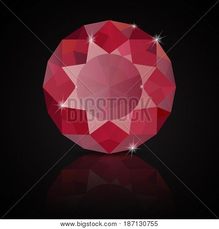 Ruby. Vector illustration on black background with reflection