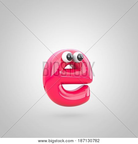 Funny Pink Letter E Lowercase With Eyes