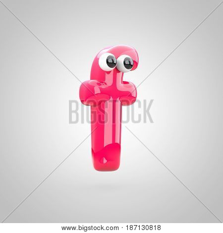 Funny Pink Letter F Lowercase With Eyes