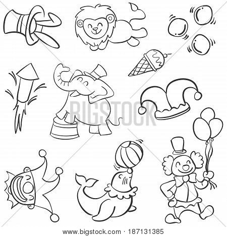 Animal and clown circus doodles vector illustration
