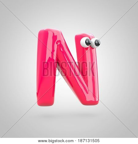 Funny Pink Letter N Uppercase With Eyes