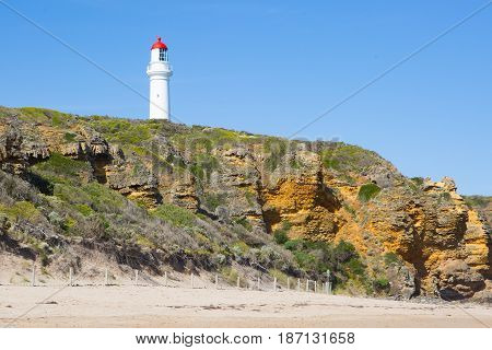 Split Point Lighthouse on a warm summer's day in Aireys Inlet, Victoria, Australia