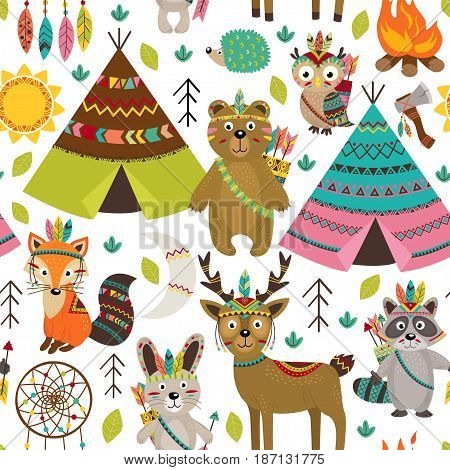 seamless pattern with tribal animals and elements - vector illustration, eps